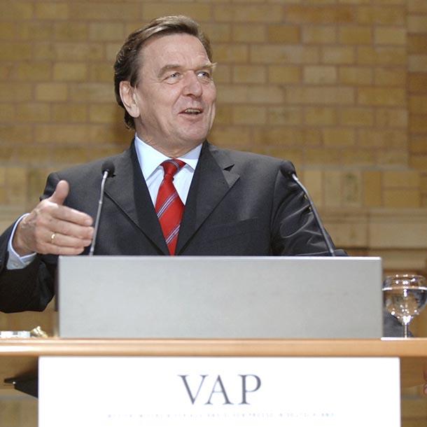 Gerhard Schröder auf einem VAP-Empfang, Bundeskanzler 1998-2005,  Foto: Renate Patzek/Bundesregierung